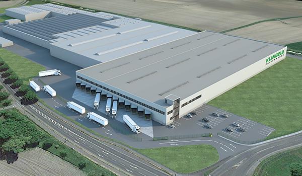 Skizze des erweiterten Logistikzentrums der Klingele Gruppe in Werne