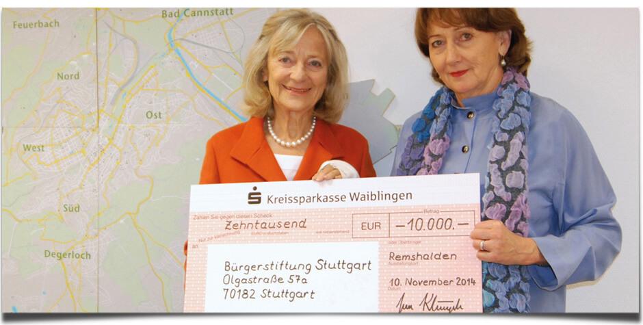 Klingele spendet 10.000 € an Bürgerstiftung Stuttgart