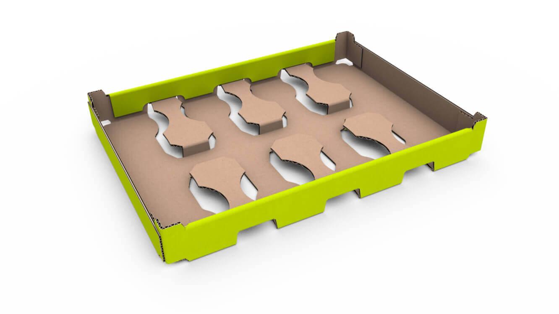 Tray für Molkereiprodukte mit Becherfixierung