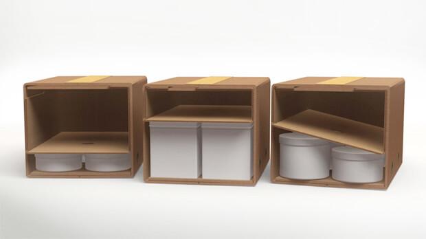Verpackungslösung, die Produkte sicher fixiert ohne Luftpolsterfolie oder anderes Füllmaterial.