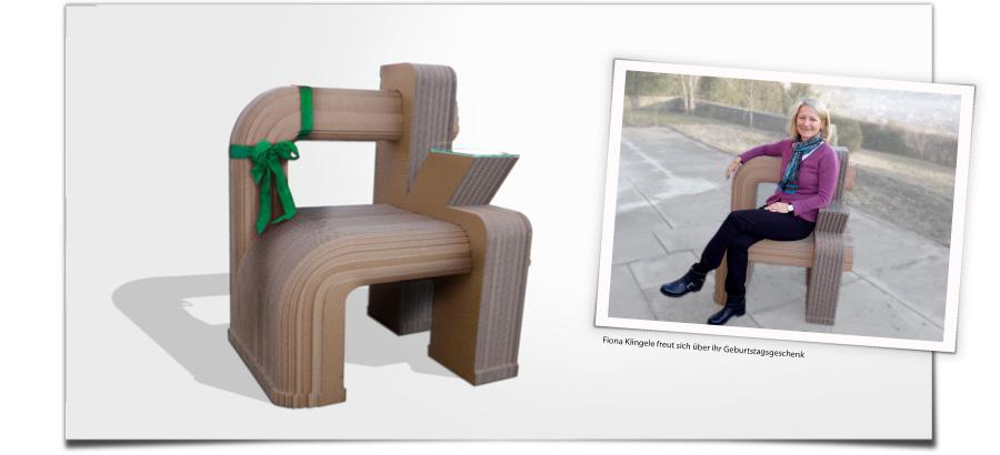 Möbel aus Wellpappe - Fiona Klingele freut sich über Ihr Geburtstagsgeschenk