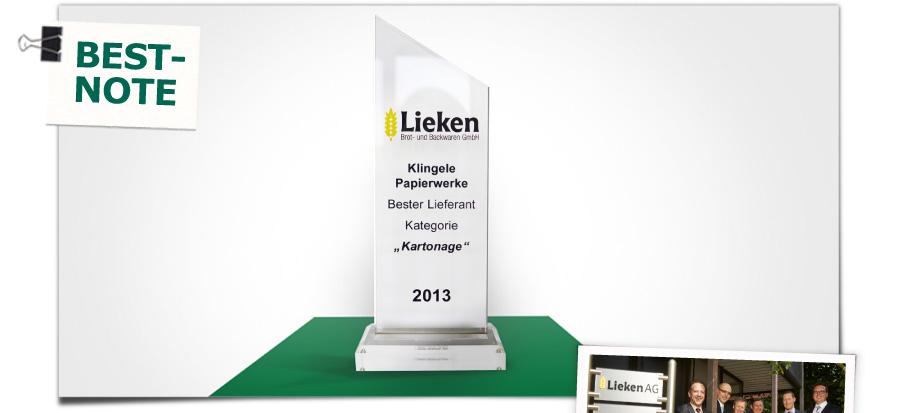 Bestnote von Lieken - Klingele Papierwerke sind bester Lieferant 2013 in der Kategorie Kartonage