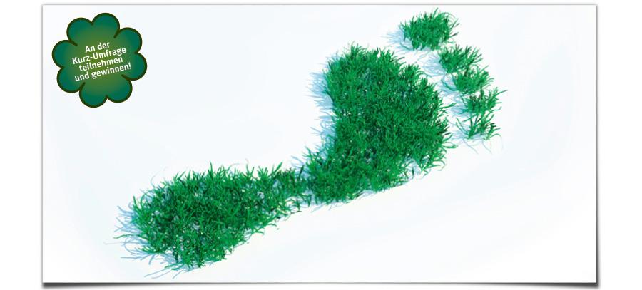 Klingele CO2-Footprint, jetzt an der Kurz-Umfrage teilnehmen und gewinnen!